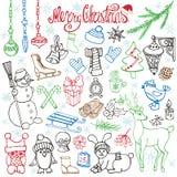 Ícones da garatuja da estação do Natal, animais linear ilustração royalty free