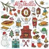 Ícones da garatuja da estação do Natal, símbolos colorido ilustração stock