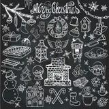 Ícones da garatuja da estação do Natal, símbolos Giz ilustração do vetor