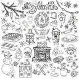 Ícones da garatuja da estação do Natal, símbolos linear ilustração stock