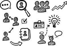 Ícones da garatuja da gestão e dos recursos humanos ilustração do vetor