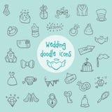Ícones da garatuja do casamento Imagem de Stock Royalty Free