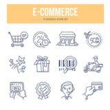 Ícones da garatuja do comércio eletrónico ilustração royalty free