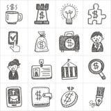 Ícones da garatuja do negócio Fotografia de Stock