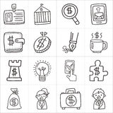 Ícones da garatuja do negócio Imagem de Stock