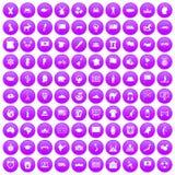 100 ícones da geografia ajustados roxos ilustração do vetor