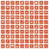 100 ícones da geografia ajustaram o grunge alaranjado ilustração do vetor