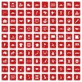 100 ícones da geografia ajustaram o grunge vermelho ilustração royalty free