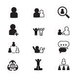 Ícones da gestão de recursos humanos ajustados Foto de Stock