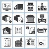 Ícones da gestão do armazém Imagem de Stock Royalty Free