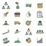 Ícones da gestão do projeto da cor dos desenhos animados ajustados Vetor ilustração royalty free