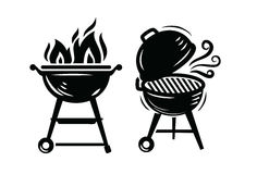 Ícones da grade do BBQ ilustração do vetor