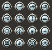 Ícones da guarda costeira ajustados fotografia de stock royalty free
