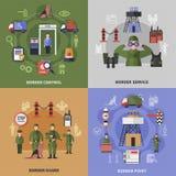 Ícones da guarda fronteiriça 2x2 ajustados ilustração do vetor