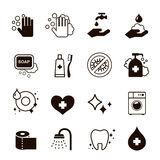 Ícones da higiene ajustados ilustração stock