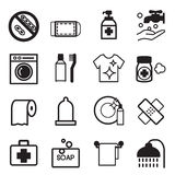 Ícones da higiene ajustados Ilustração do Vetor