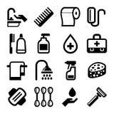 Ícones da higiene ajustados no fundo branco Vetor ilustração stock