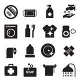 Ícones da higiene da silhueta ajustados Fotografia de Stock