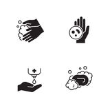 Ícones da higiene das mãos ajustados ilustração do vetor