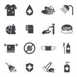 Ícones da higiene e da limpeza ajustados Imagem de Stock