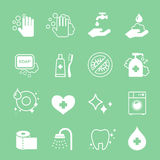 Ícones da higiene e da limpeza ajustados Lavagem da mão, sabão Foto de Stock