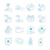 Ícones da higiene e do saneamento ajustados ilustração royalty free