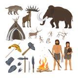 Ícones da Idade da Pedra ajustados ilustração royalty free