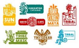 Ícones da identidade da empresa do asteca e do Maya ilustração stock