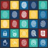 Ícones da identificação do dedo no fundo dos quadrados da cor para o gráfico e o design web, sinal simples moderno do vetor Conce ilustração stock