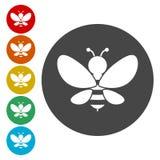 Ícones da ilustração da silhueta da abelha ajustados ilustração royalty free