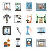ícones da impressão 3D ajustados ilustração stock