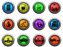 Ícones da indústria do óleo e da gasolina ajustados Imagens de Stock Royalty Free