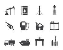 Ícones da indústria do óleo e da gasolina da silhueta Imagens de Stock