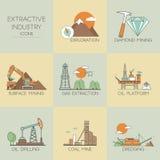 Ícones da indústria extrativa Fotografia de Stock