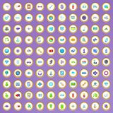 100 ícones da inovação ajustados no estilo dos desenhos animados ilustração do vetor