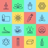 16 ícones da ioga Fotografia de Stock