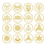 Ícones da ioga do vetor Foto de Stock