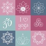 Ícones da ioga do vetor Imagens de Stock Royalty Free
