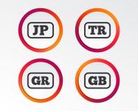 Ícones da língua Tradução do JP, do TR, da GR e do GB Fotografia de Stock Royalty Free