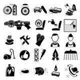 Ícones da lavagem de carros ajustados Fotos de Stock Royalty Free