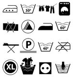 Ícones da lavanderia ajustados ilustração stock