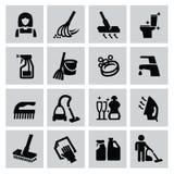 Ícones da limpeza Fotografia de Stock