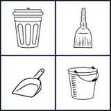 ícones da limpeza ajustados Imagens de Stock