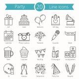 20 ícones da linha do partido ilustração royalty free