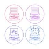Ícones da máquina de escrever Foto de Stock
