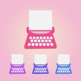 Ícones da máquina de escrever ajustados Foto de Stock