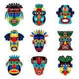 Ícones da máscara do tribo Zulu ou do asteca ilustração stock