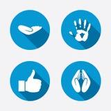 Ícones da mão Como o polegar ascendente e os símbolos do seguro ilustração royalty free