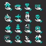 Ícones da mão do seguro ajustados ilustração stock