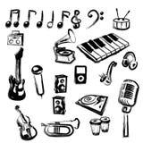 Ícones da música ilustração royalty free